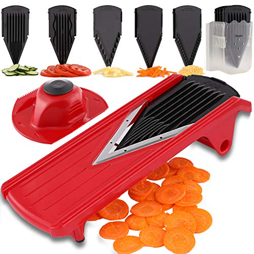 - Geedel V-Pro Mandoline Slicer, Adjustable Food/Vegetable Slicer With Interchangeable Blades and Blades Container, Julienne Slicer Grater for All Fruit and Veggies