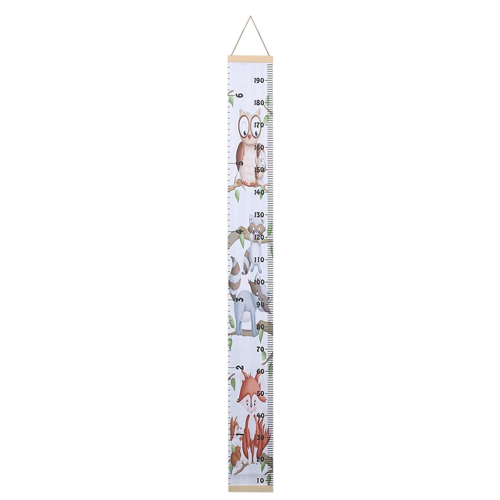 DYNWAVE Kids Growth Chart Baby Roll-up Wood Frame Canvas Removable Height Measurement Ruler Wall Hanging Height Ruler for Nursery Room Bedroom 79x8.3 Inch 79 x 8.3 Inches C