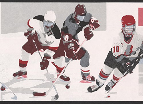 Vintage Hockey Black White Red Sports Wallpaper Border Retro Design, Roll 15' x ()