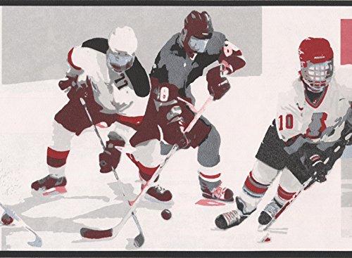 Vintage Hockey Black White Red Sports Wallpaper Border Retro Design, Roll 15' x 7'' ()