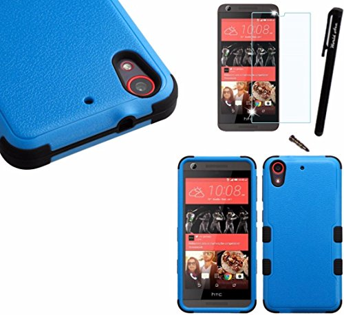 - For HTC Desire 625 (Cricket) Dual Layer Tuff Armor Hybrid Silicone Cover Hard Plastic Case+[WORLD ACC®] LCD Screen Protector+Stylus+Dust Cap Free Gift (Blue/Black)