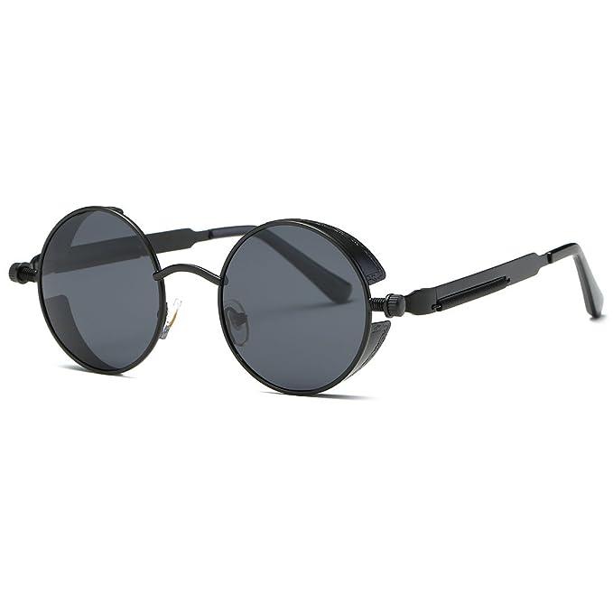 c32b61b702 AEVOGUE Polarized Sunglasses Steampunk Round Lens Metal Frame Unisex Glasses  AE0519 (Black