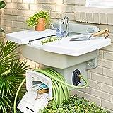 BrylaneHome Outdoor Garden Sink with Hose Holder - White