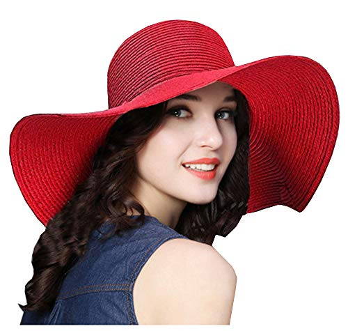 - ASSQI Beach Summer Wide Sun Foldable hat for Women Red