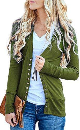 Basic Faith Women's S-3XL V-Neck Button Down Knitwear Long Sleeve Soft Knit Casual Cardigan Sweater Olive 3XL -