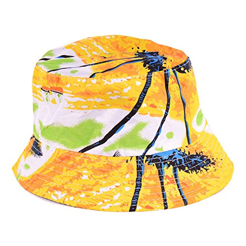 BYOS Fashion Cotton Unisex Summer Printed Bucket Sun Hat Cap, Various Patterns Available (Hawaii Yellow)