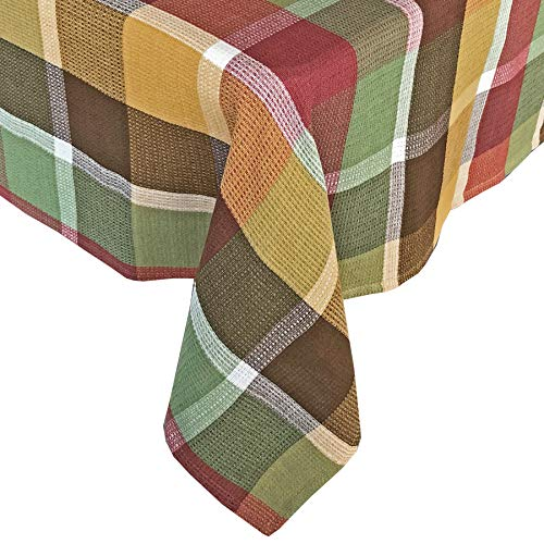 """Lintex Cottage Farm Plaid Autumn and Thanksgiving 100% Cotton Fabric Tablecloth - Bold Fall Block Plaid, Dining Room Easy Care Cotton Weave Tablecloth, 52"""" x 52"""" Square"""