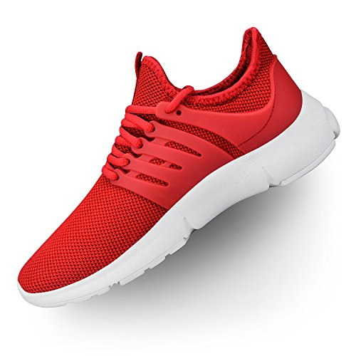 Troadlop Womens Breathable Mesh Sport Running Shoes Red White 11 M US