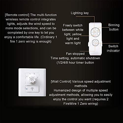 WFBP Decken Ventilator mit LED Beleuchtung Super Leise Ventilator mit Licht 3 Flügeln für Wohnzimmer leise Kinderzimmer Schlafzimmer Wohnzimmer Beleuchtung