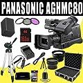 Panasonic AG-HMC80 3MOS AVCCAM HD Shoulder-Mount Camcorder + VBG260 Battery/Charger + Filter Kit + 16GB SDHC + Wide Angle/Telephoto Lenses + Pro Hard Case HDMI DavisMAX Pro MASSIVE Kit Bundle by Panasonic