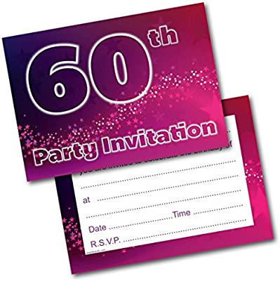 Doodlecards 60th Birthday Party Invitations Female Invites Pack Of 20 Postcards And Envelopes Amazoncouk Office Products