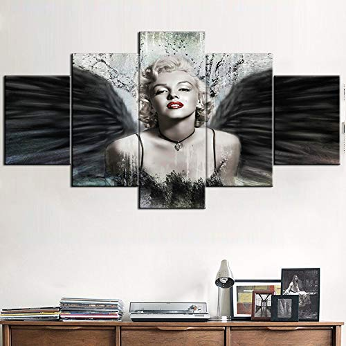 Wall Pictures for Living Room Sexy Model Marilyn Monroe Paintings Black Wing Grunge Artwork 5 Panel Prints Wall Art on Canvas Vintage House Decor Framed Gallery-Wrapped Ready to Hang(60''Wx32''H)