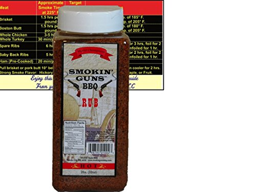 Smokin Guns BBQ Rub Hot Large 2 Pound (32 oz) Bottle with Complimentary Miniature Meat Smoking Guide Magnet Bundle