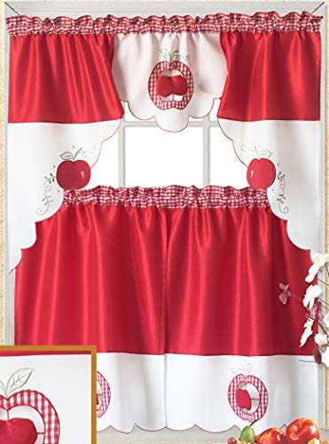 Just-Enjoy Lace 100% Polyester White Red Color Embroidered Fruit Patterns Cutwork Kitchen Curtain 2 pcs Tier & 1 pcs Valance Set (red Apple)