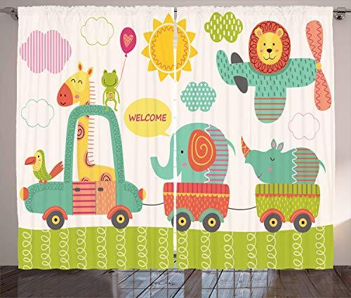 "Ambesonne Jungle Curtains, Train with Baby Jungle Animals Saying Welcome Safari Theme Nursery Design, Living Room Bedroom Window Drapes 2 Panel Set, 108"" X 90"", Seafoam Salmon"