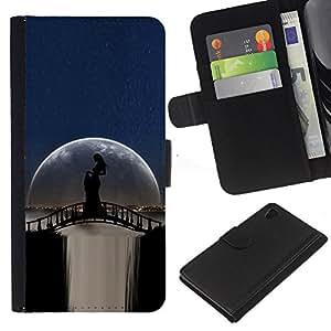 Planetar® Modelo colorido cuero carpeta tirón caso cubierta piel Holster Funda protección Para Sony Xperia Z4 / Sony Xperia Z4V / E6508 ( Moonlight Puente Cascada Mujer Sombra )