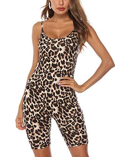 Amiliashp Sexy Leopard Snake Skin Tank Tops Short Romper Onesie Jumpsuit Bodysuit One Piece Unitard Yoga Sport Catsuit
