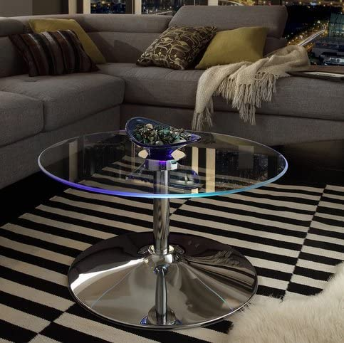 INSPIRE Q Lorin Cool Round Glass Coffee Table – Cocktail Table – Modern LED Accent Table