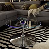 INSPIRE Q Lorin Cool Round Glass Coffee Table – Cocktail Table – Modern LED Accent Table For Sale
