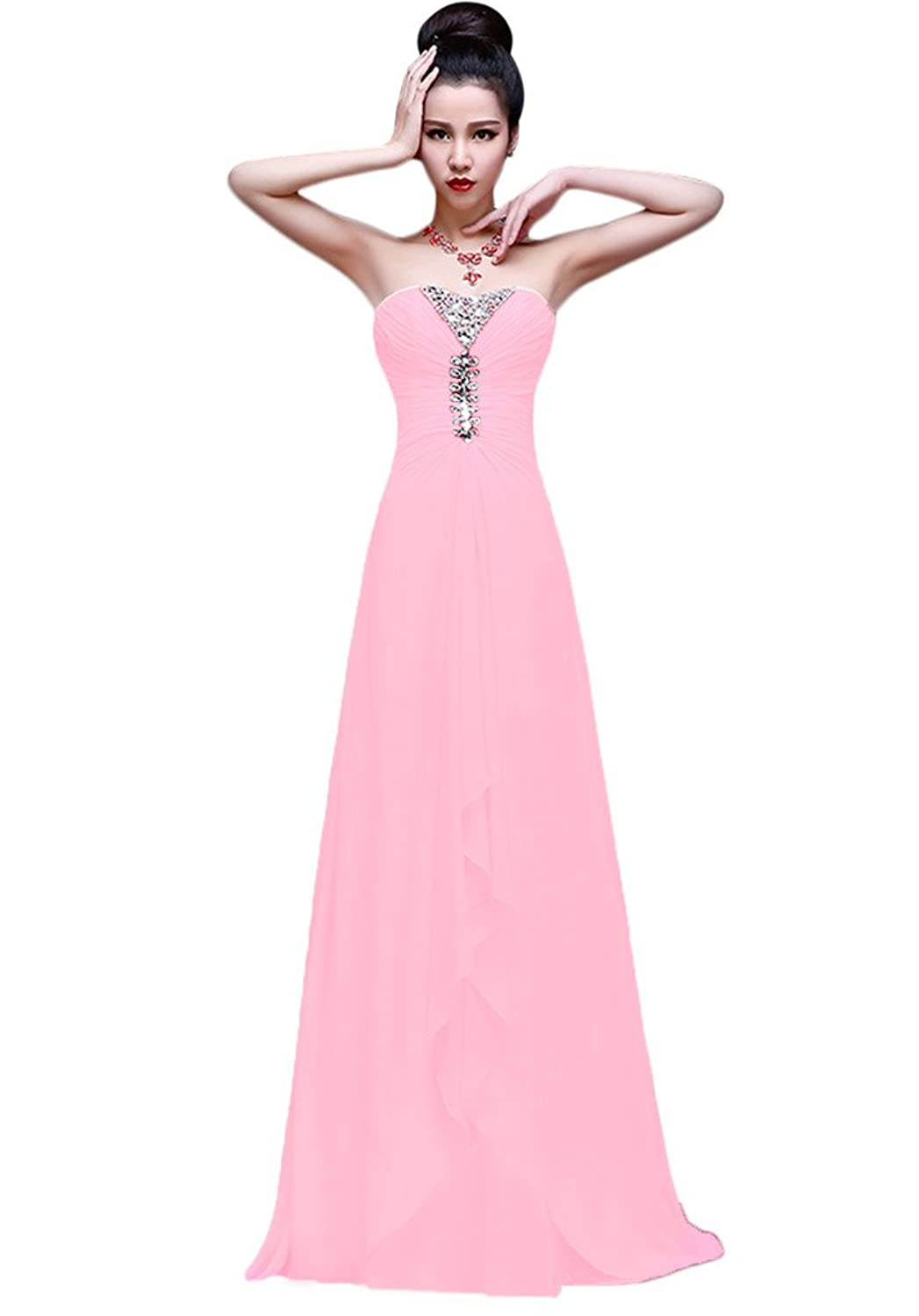 Vimans? Girl's Long Sweetheart Pleated Chiffon Dresses Beaded Wedding Gowns