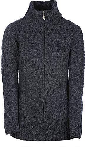 Ladies Irish Zipper Wool Cardigan (XLarge, Derby) (Aran Womens Cardigan)