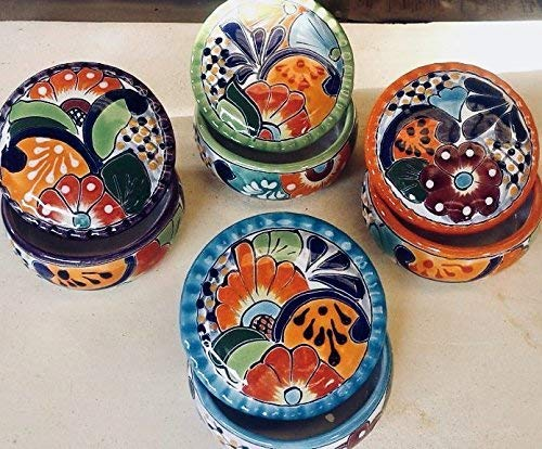 3.5 Wavy Blue-Rimmed Mexican Talavera Pottery Jewelry and Trinket Box for Daily Use and Home Decor Qty 1