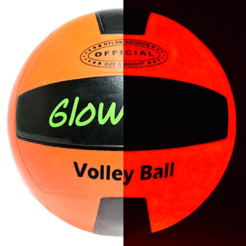 GlowCity Glow-in-The-Dark Light-Up Volleyball - Official Size and Weight - Impact Activated LEDs - Batteries Included and Water-Resistant, Ideal for Beach and Court Play