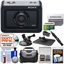 Sony DSC-RX0 Ultra-Compact Shock & Waterproof Video Camera with 64GB Card + Case + Suction Cup & Dashboard Mounts + Kit