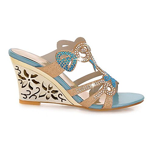 Femmes Blue Sandales Compens¨¦es Taoffen Mules UTqwPXX