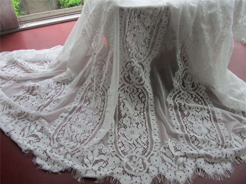 3yards Off White Lace Fabric, Wedding Lace, French Style, Gorgeous Ivory Alencon Lace Fabric, Sold Per Yard-lsm3ls (LSM3LS005, off white) (Alencon Lace Yard)