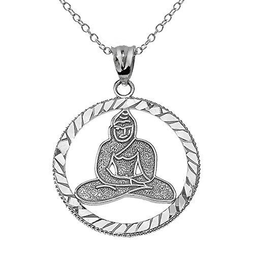 Silver Buddha Pendant - Elegant 925 Sterling Silver Meditating Buddha Pendant with 18
