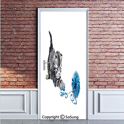 Cat Door Wall Mural Wallpaper Stickers,Playful Baby Kitten with Ball of Yarn Furry Animal Domestic Feline Kids Pets Artwork,Vinyl Removable 3D Decals 35.4x78.7/2 Pieces set,for Home Decor Grey Blue