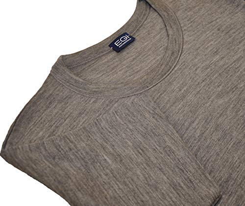 EGI Luxury Merino Wool Blend Men's Short Sleeve T-Shirt. Proudly Made in Italy. (5 (Large), Grigio)