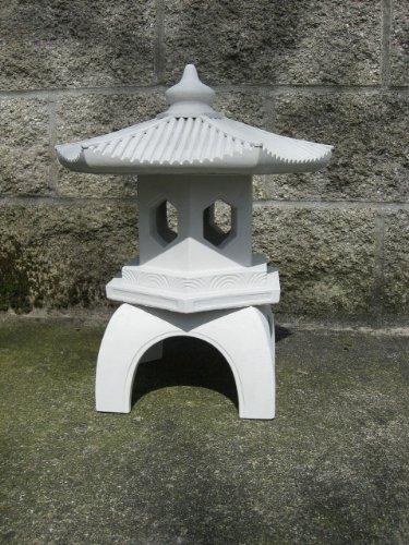 Cement PAGODA Lantern 16u2033H, 3 Piece GRAY CONCRETE Outdoor Garden Statue