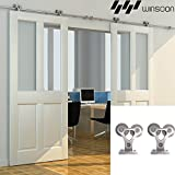 WINSOON Modern Double Brackets Stainless Steel Sliding Wood Barn Door Hardware Track Roller Set Flat Rail Rolling Wheel Kit (12FT / Double Door Kit)