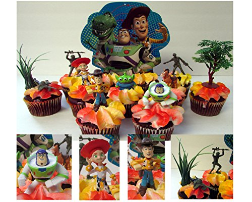 TOY STORY 2 Ten Piece Birthday Cupcake Topper Set Featuring Woody, Buzz Lightyear, Bullseye, Jessie and Alien and (Toy Story Buttercup)