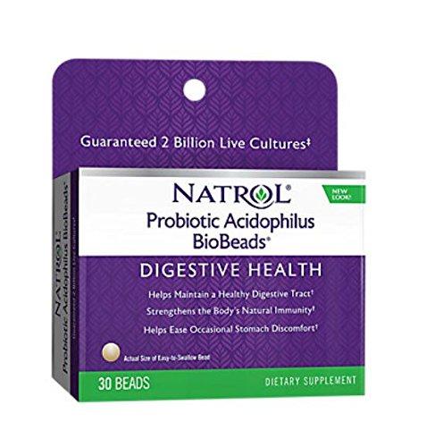 Natrol Probiotic Acidophilus BioBeads, 30 Beads (Pack of 2) - Biobeads Probiotic Acidophilus Complex