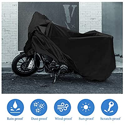 MoKo Motorcycle Cover, 210D Oxford Cloth XXXL Dustproof Splashproof 116 inch Universal Protective Cover All Season Sun Protection Case Super Large for Motorbike Outdoor Use - Black: Automotive
