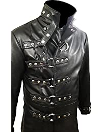 MENS GOTHIC COAT GENUINE BLACK LEATHER STEAMPUNK VAN HELSING COAT - T19
