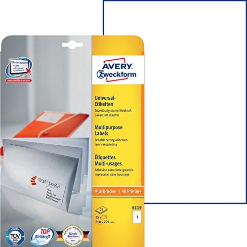 Avery Zweckform 6119 Universal-Etiketten (A4, Papier matt, 25 Etiketten, 210 x 297 mm) 25 Blatt weiß