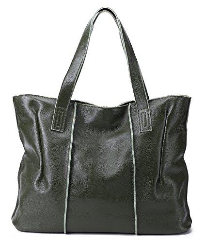 (Large, Soft, Genuine Leather, Everyday) CHERRY CHICK Women's Classic Cow Leather Tote Bag-Shoulder Bag-Handbag (Kombu Green-9316) ()