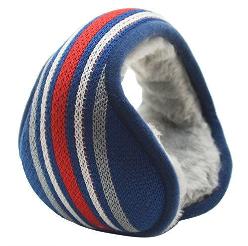 Mraw Unisex Colorful Stripe Foldable/Adjustable Wrap around Earmuffs (red white and blue)