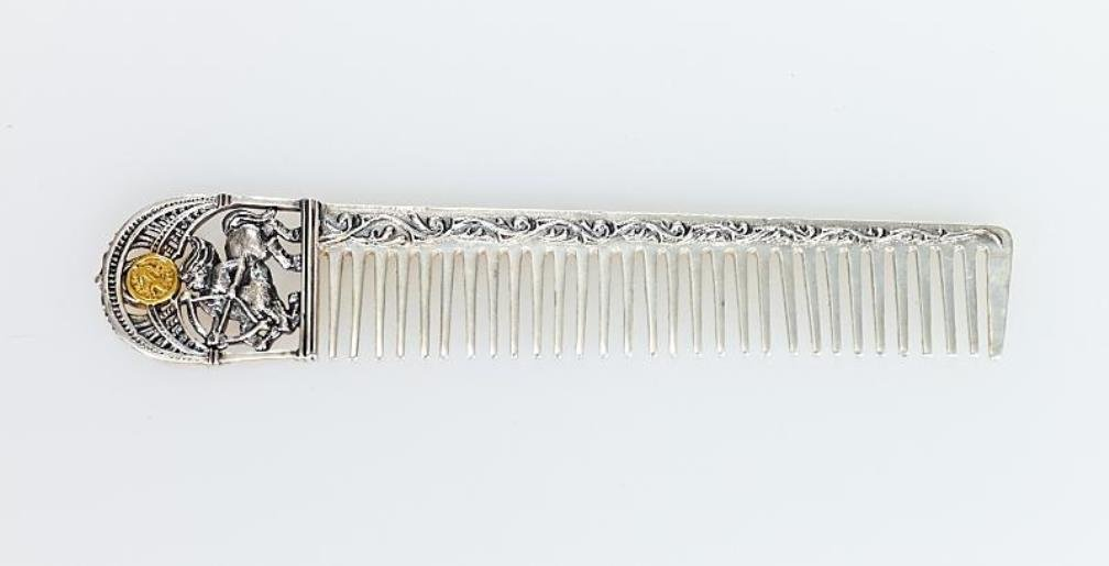 Silver Hair comb with Zodiac Horoscope Astrology Sign ''Sagittarius''