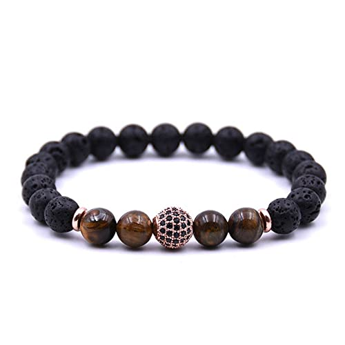 JOYA GIFT Lava Rock Stone Essential Oil Diffuser Yoga Bracelet with Rose Gold CZ Ball for Women Men