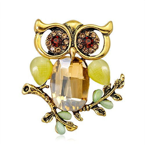 ptk12 Big Green Eyes Owl Brooch Pin Antique Colorful Animal Bird Brooches Pins Dress Accessories by ptk12