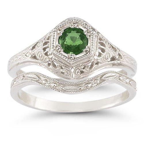 Verde esmeralda de estilo antiguo juego de anillos de boda
