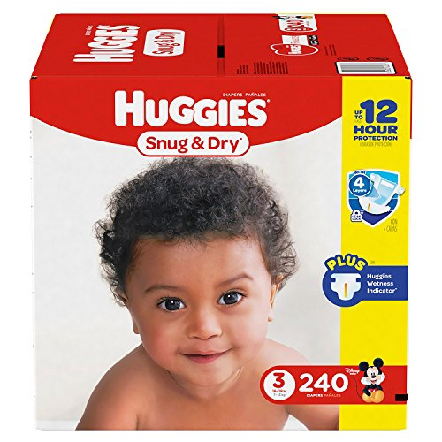 Branded Huggies Snug & Dry Diapers - Diaper Size 3 - 240 Ct. ( Weight 16- 28 Lbs.) (Bulk Qty at Whoesale Price, Genuine & Soft Baby diaper) by Product of Huggies