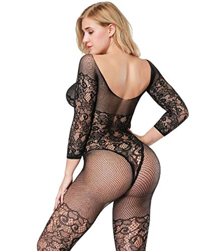 9fa61a1e255 Buitifo Womens Fishnet Bodystocking Plus Size Crotchless Bodysuit Sexy  Tights
