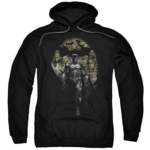Trevco Men's Rises Distressed Dark Knight Adult Hoodie at Gotham City Store