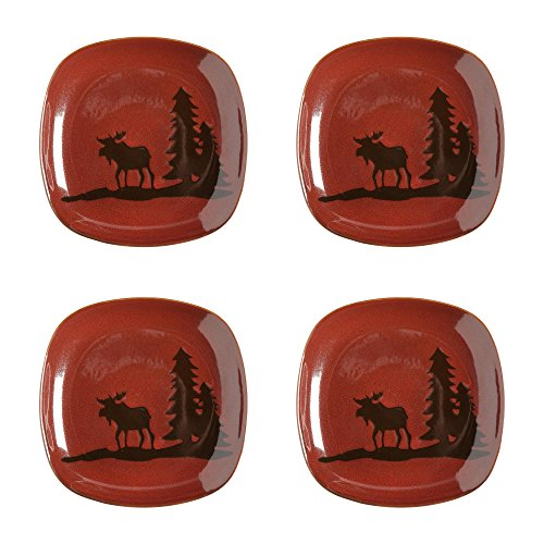 Nature's Home Lodge Moose Squared Stoneware Salad Plates, Set of 4 ()